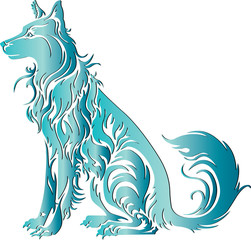 blue dog tribal art