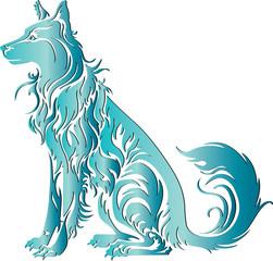 blue dog tribal art
