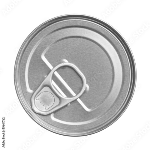 tin can on white background, view from the top