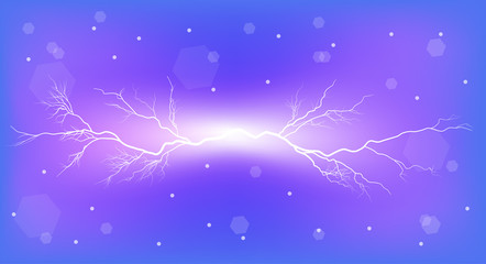 electrical discharge on blue background