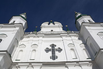 Beautiful white ortodox cathedral with crist
