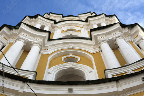 Beautiful facade of ordodox cathedral with collones