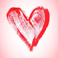 Watercolor red heart, vector illustration
