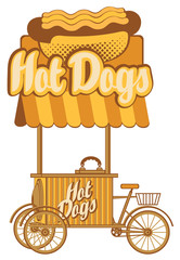 Mobile tray selling hot dogs in retro style