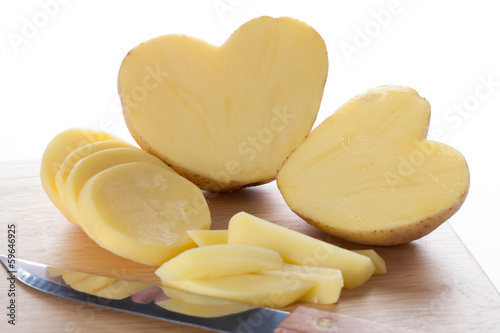Peeled potatoe hearts