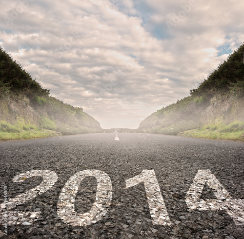 2014 painted on asphalt