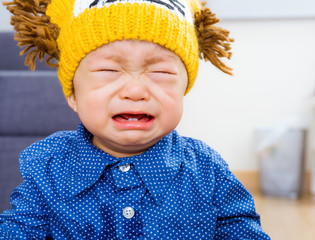 Asian baby boy yelling