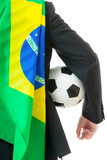 Back view of businessman with soccer ball and brazil flag