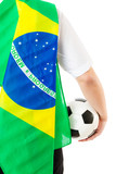 Back of businessman with football and brazil flag