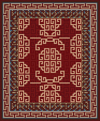 Design For Large Area Retro Style Carpet
