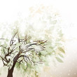 Abstract winter background with tree and snow