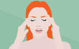 Woman with headache flat illustration