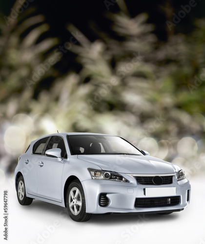 Blurred Background christmas tree with car