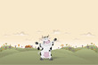 Cartoon cow on country farm landscape