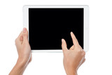 Fingers being pointed on tablet screen