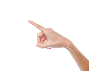 Human hand pointing at something