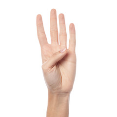 Woman hand showing four count