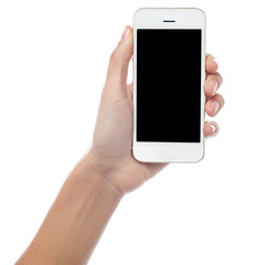 Hand displaying latest mobile handset