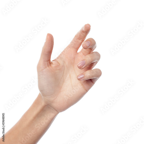 Female hand gesturing a hold