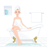 女性,お風呂 Pretty woman wrapped in towel in bathroom