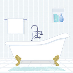 お風呂,浴槽 bathroom with vintage style bathtub
