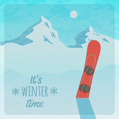 Vector retro illustration with snowy mountains and snowboard
