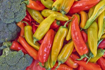 hot chilli peppers closeup