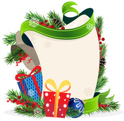 Christmas wreath and Gift Boxes