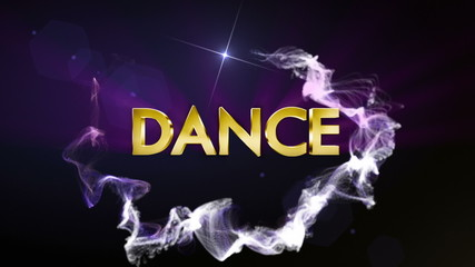 Dance Gold Text in Particles, with Final White Transition
