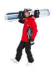 Happy attractive snowboarder walking with snowboard.
