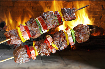 BBQ with kebab cooking