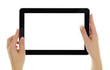 Female hands horizontally holding tablet with blank screen - 59649723