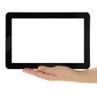 Female hands horizontally holding tablet with blank screen
