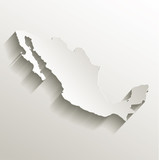 Mexico map card paper 3D natural