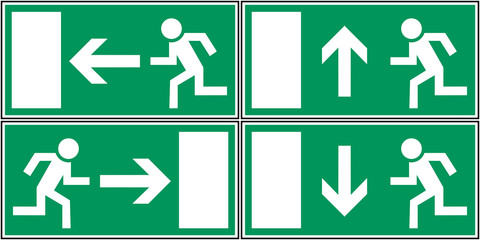 set collection notausgang emergency exit signs