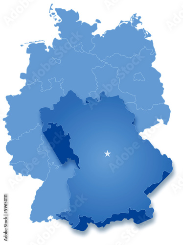 Map of Germany where Bavaria (Freistaat Bayern) is pulled out