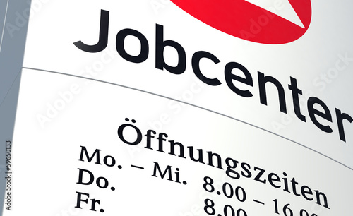 Leinwanddruck Bild Schild Jobcenter