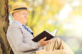 Senior man sitting on a grass and reading a book in park