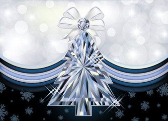 Diamond Christmas tree banner, vector illustration