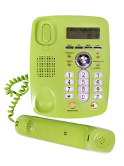 Plastic landline phone with buttons isolated on a white