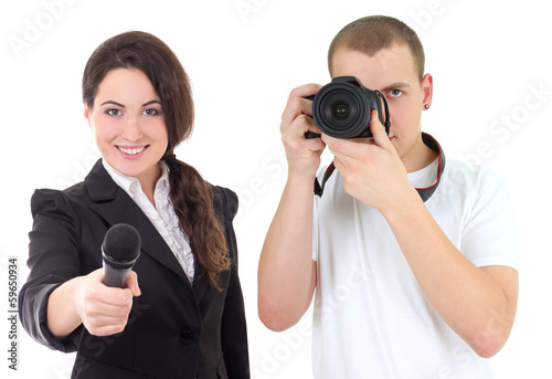 woman with microphone and man with camera isolated on white