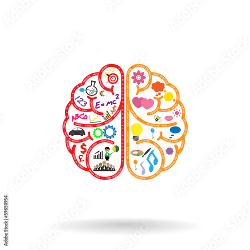 Creative left and right brains Idea concept .vector illustration
