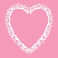 white lace-like heart shape frame, vector background, valenyine