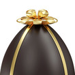 Chocolate Easter Egg with Golden Bow isolated on white