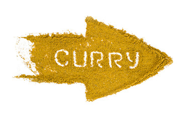 Arrow made of curry powder isolated