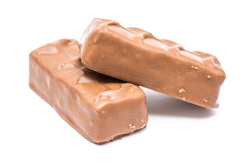 Sweet Milk Chocolate Bars Isolated On White Background
