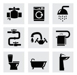 vector bathroom icon set