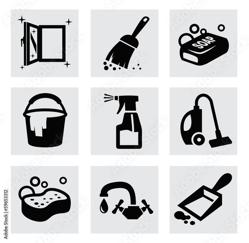 vector black cleaning icons set on gray
