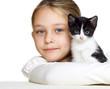 girl hugs a kitten