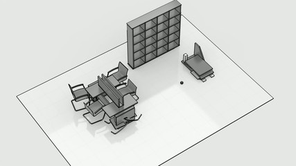 Office interior creation, wireframe